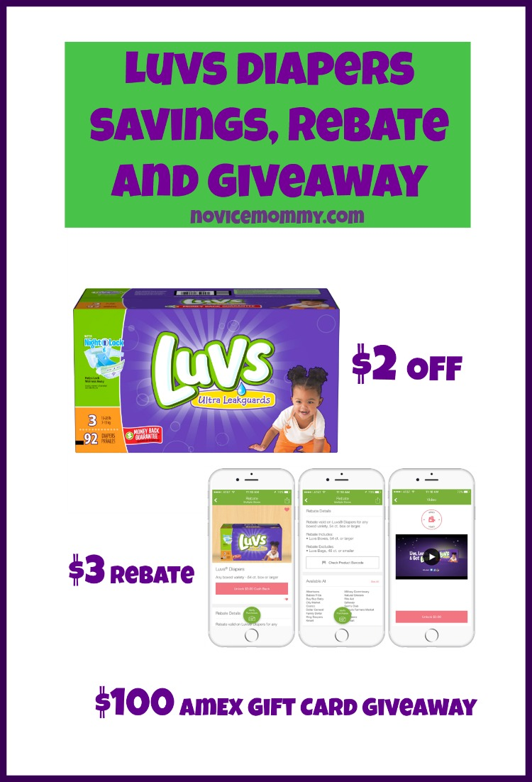 Luvs Diapers. Savings. Rebate. Giveaway. American Express. Ibotta.